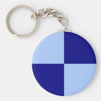 淡いブルーおよび濃紺の長方形 キーホルダー