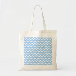 淡いブルーおよび白いジグザグ形の縞 トートバッグ