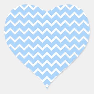 淡いブルーおよび白いジグザグ形の縞 ハートシール