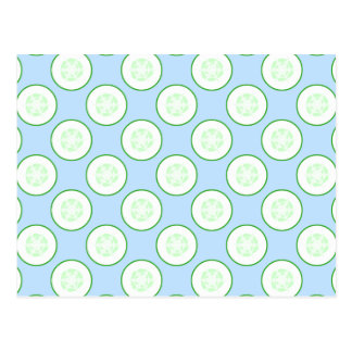 淡いブルーおよび緑のきゅうりパターン ポストカード
