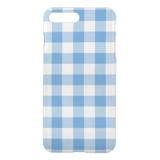 淡いブルーおよび透明なギンガムパターン iPhone 8 PLUS/7 PLUS ケース