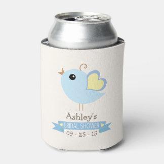 淡いブルーおよび黄色い愛鳥; ブライダルシャワー 缶クーラー