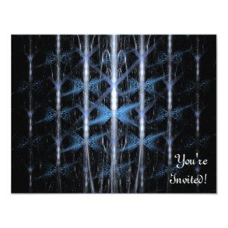 淡いブルーおよび黒いパターン。 フラクタルArt. カード