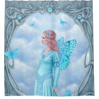 淡いブルーのアクアマリンのBirthstoneの妖精 シャワーカーテン