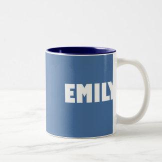 淡いブルーのエミリーの名前 ツートーンマグカップ