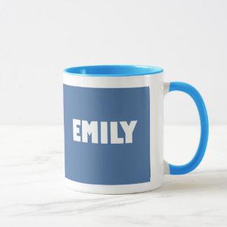 淡いブルーのエミリーの名前 マグカップ