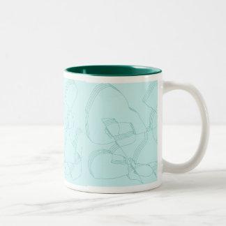 淡いブルーのカーブ ツートーンマグカップ