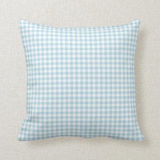 淡いブルーのギンガムの枕 クッション