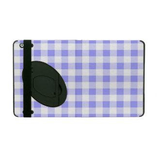 淡いブルーのギンガムのiPadのフォリオの箱 iPad ケース