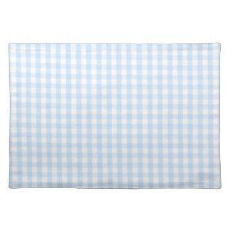 淡いブルーのギンガムパターン ランチョンマット