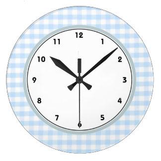 淡いブルーのギンガムパターン ラージ壁時計