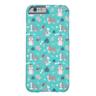 淡いブルーのクリスマスハスキーな犬のiPhone6ケース Barely There iPhone 6 ケース