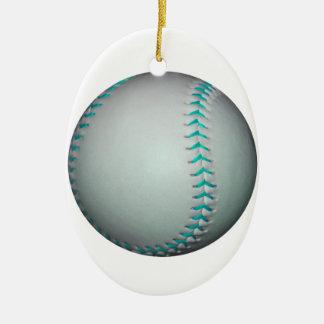 淡いブルーのステッチの野球/ソフトボール セラミックオーナメント