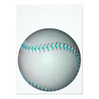淡いブルーのステッチの野球/ソフトボール 14 X 19.1 インビテーションカード