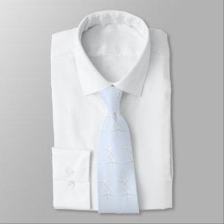 淡いブルーのタイの白いヒトデのカップルパターン オリジナルネクタイ