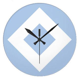 淡いブルーのダイヤモンド、はっきりしたで白いボーダー ラージ壁時計