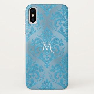 淡いブルーのダマスク織のモノグラムのiPhone Xの場合 iPhone X ケース