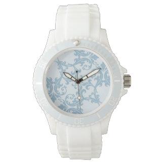 淡いブルーのダマスク織 腕時計