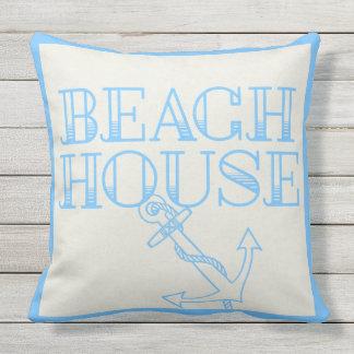 淡いブルーのテラスの枕ビーチハウスのいかり クッション