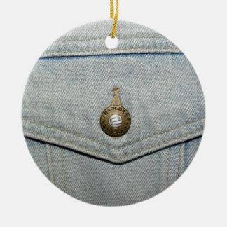 淡いブルーのデニムのポケット セラミックオーナメント