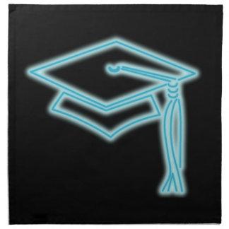 淡いブルーのネオン卒業生の帽子 ナプキンクロス