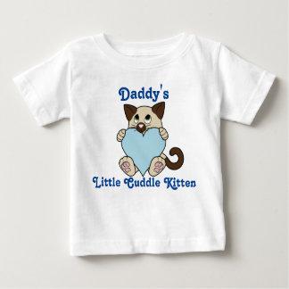 淡いブルーのハートのバレンタインデーのシャム猫 ベビーTシャツ