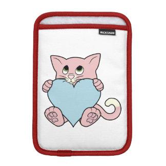 淡いブルーのハートのバレンタインデーのピンク猫 iPad MINIスリーブ
