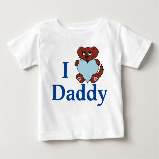 淡いブルーのハートのバレンタインデーの赤い犬 ベビーTシャツ