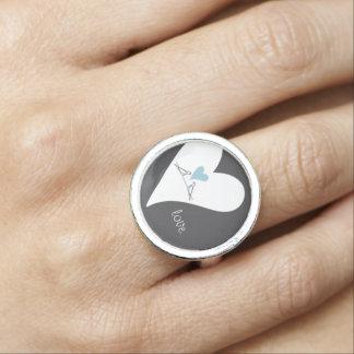 淡いブルーのハートの素朴な結婚式の新婦付添人愛 指輪
