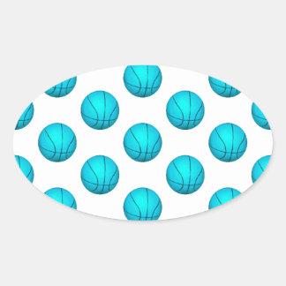 淡いブルーのバスケットボールパターン 楕円形シール