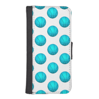 淡いブルーのバスケットボールパターン iPhoneSE/5/5sウォレットケース