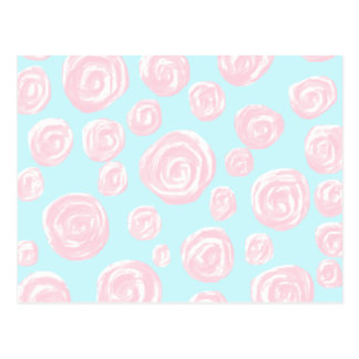 淡いブルーのパステル調ピンクのバラパターン。 ポストカード