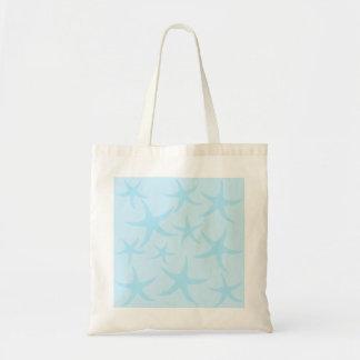 淡いブルーのヒトデパターン トートバッグ