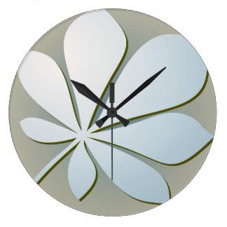淡いブルーのペーパー葉の柱時計 ラージ壁時計