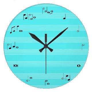 淡いブルーのミュージシャンのタイムレコーダー- ラージ壁時計