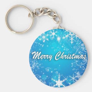 淡いブルーのメリークリスマス キーホルダー