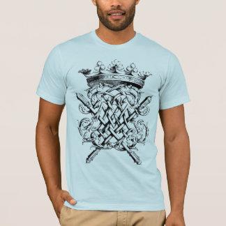 淡いブルーのモノグラムの王冠T Tシャツ