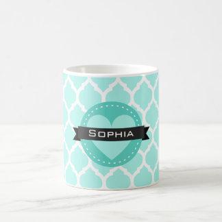淡いブルーのモロッコの格子パターン コーヒーマグカップ