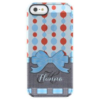 淡いブルーのリボン、レトロのドット・パターンのモノグラム クリア iPhone SE/5/5sケース