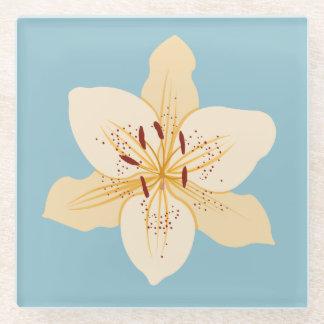 淡いブルーのワスレグサのイラストラティブデザイン ガラスコースター