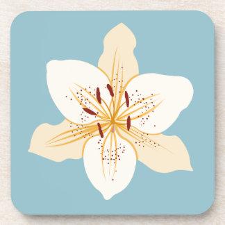 淡いブルーのワスレグサのイラストラティブデザイン コースター