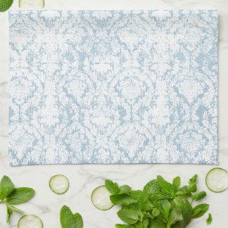 淡いブルーのヴィンテージのダマスク織パターン キッチンタオル