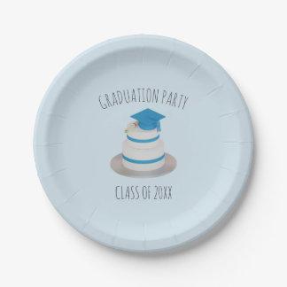 淡いブルーの低い多卒業のケーキの紙皿 ペーパープレート