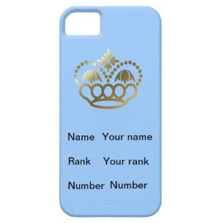 淡いブルーの基盤、名前、ランクおよび数を用いる王冠、 iPhone SE/5/5s ケース