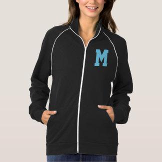 淡いブルーの女性ジャケットの手紙Mのモノグラム ジャケット