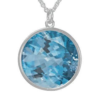 淡いブルーの宝石用原石のアクアマリン3月Birthstone スターリングシルバーネックレス