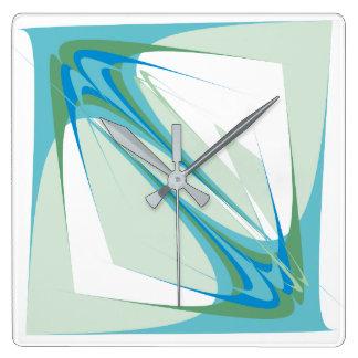 淡いブルーの抽象的概念 スクエア壁時計