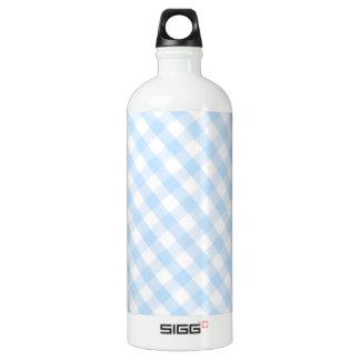 淡いブルーの斜めのギンガムパターン ウォーターボトル