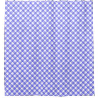 淡いブルーの斜めのギンガム シャワーカーテン