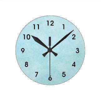 淡いブルーの水彩画の洗浄時計 ラウンド壁時計